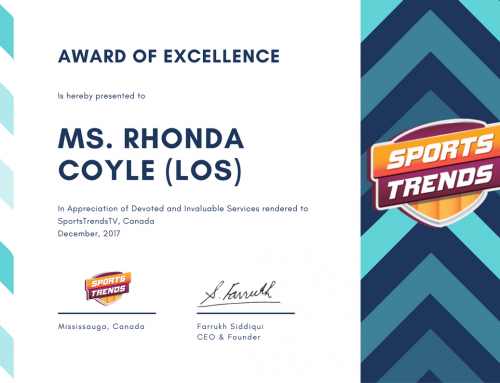"""Award of Appreciation"" – SportsTrends TV (December 2017)"
