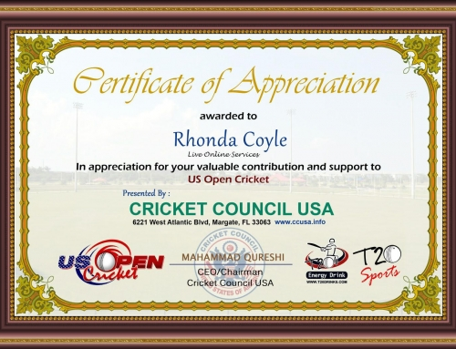 Certification of Appreciation – Cricket Council USA (January 10, 2018)