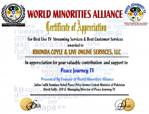 Recongnition by World Minorities Alliance & Peace Journey TV, Washington DC., USA (September 9th, 2018)