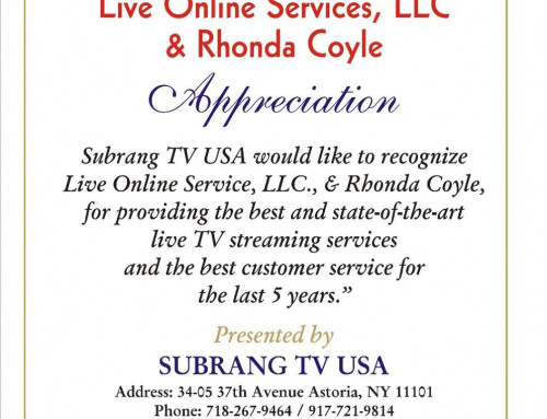 Award on 5th Anniversary from Subrang TV USA (NY)